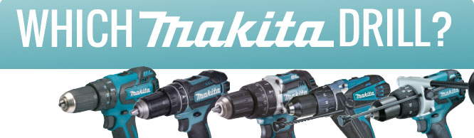 Row consisting of several images of Makita drills