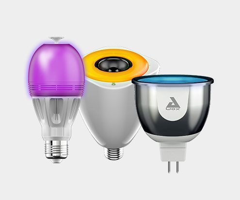 Awox Smart Lightbulbs showing several colours