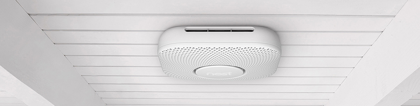 Nest Protect smoke alarm on ceiling